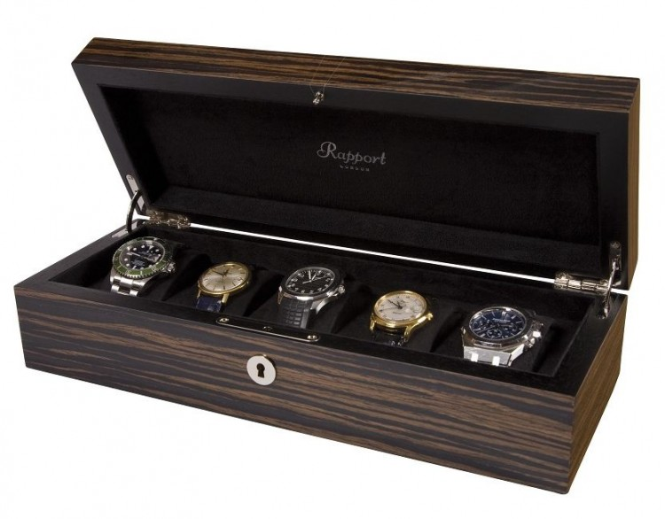 Арт. L272. Шкатулка для хранения 5-ти часов. MACASSAR COLLECTOR BOXES. Rapport London (Англия).